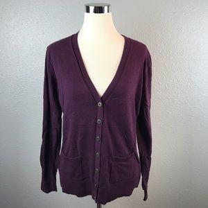 "CAbi ""Billi"" Style #898 Dark Purple Cardigan"